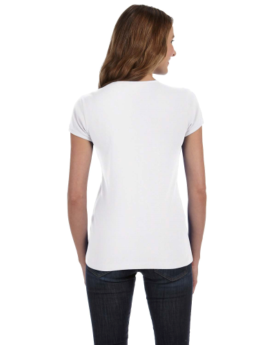 Ladies' Baby Rib Short-Sleeve V-Neck T-Shirt back Image