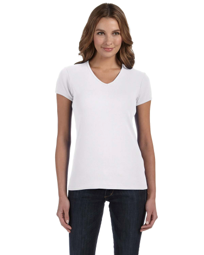 Ladies' Baby Rib Short-Sleeve V-Neck T-Shirt front Image
