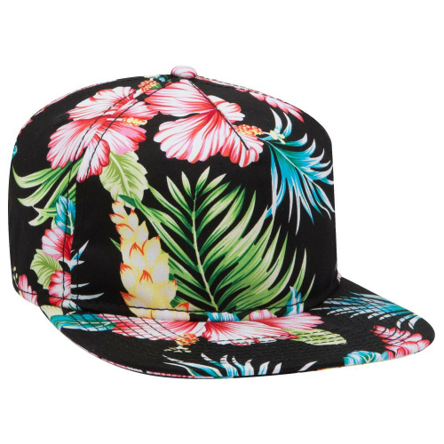 Hawaiian Pattern Cotton Twill  Five Panel Snapback front Image