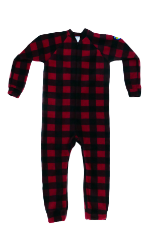 Canada Plaid Big Kids Footed Pajama front Image