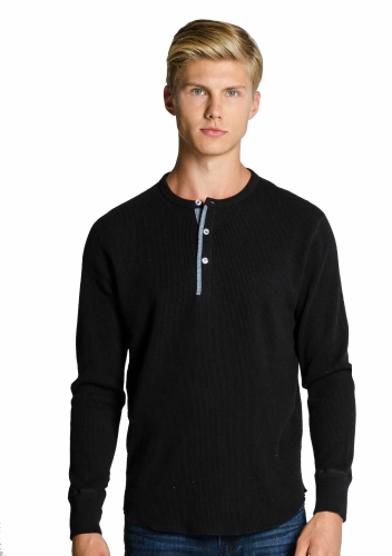 MEN'S LONG SLEEVE THERMAL WAFFLE HENLEY front Image