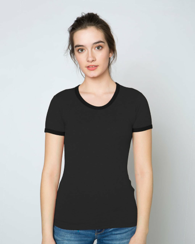 WOMEN'S 9 OZ. SHORT-SLEEVE RINGER T-SHIRT front Image