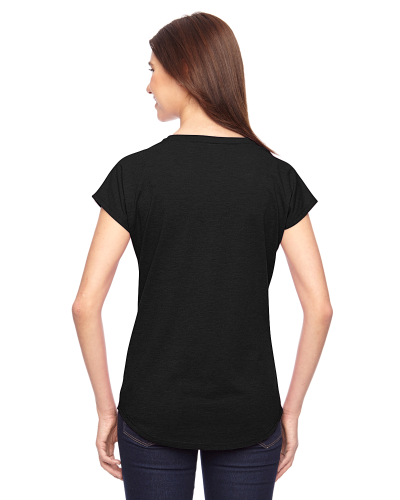 Ladies' Triblend V-Neck T-Shirt back Image