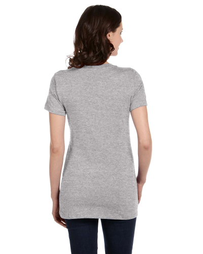 Ladies' Short-Sleeve Deep V-Neck T-Shirt back Image