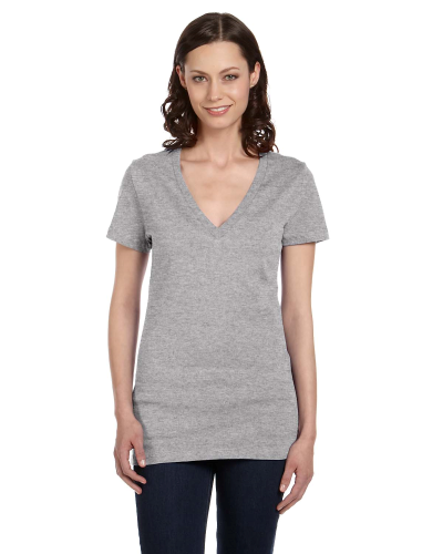Ladies' Short-Sleeve Deep V-Neck T-Shirt front Image