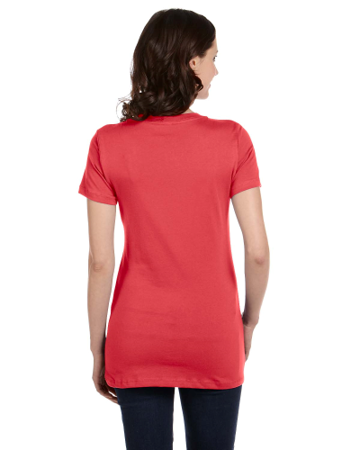 Ladies' Jersey Short-Sleeve Deep V-Neck T-Shirt back Image