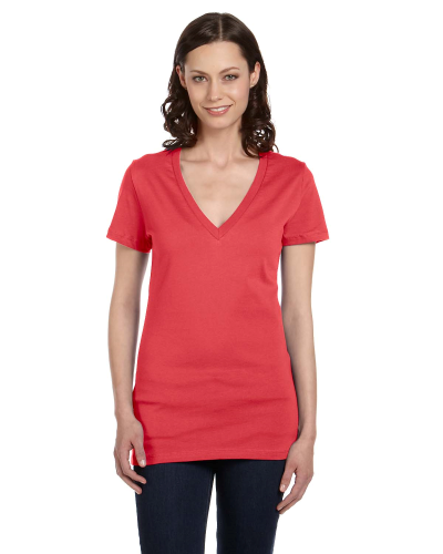 Ladies' Jersey Short-Sleeve Deep V-Neck T-Shirt front Image