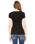 Ladies' Sheer Mini Rib Short-Sleeve Scoop Neck T-Shirt back Thumb Image