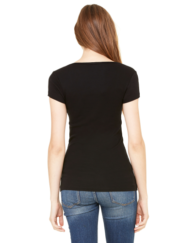 Ladies' Sheer Mini Rib Short-Sleeve Scoop Neck T-Shirt back Image
