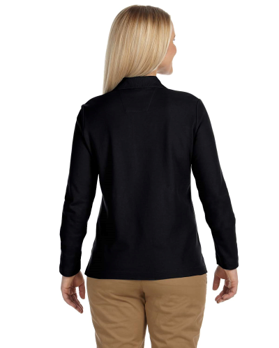 Pima Piqué Long-Sleeve Polo back Image
